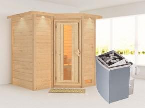 Karibu 40mm Comfort Massivholzsauna Sahib 1 - Eckeinstieg - Energiespartür - mit Dachkranz - 9kW Saunaofen mit integr. Steuerung