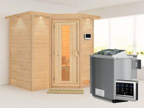 Karibu 40mm Comfort Massivholzsauna Sahib 1 - Eckeinstieg - Energiespartür - mit Dachkranz - 9kW Bio-Kombiofen mit externer Steuerung Easy bio