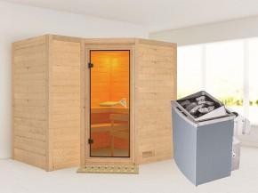 Karibu 40mm Comfort Massivholzsauna Sahib 2 - Eckeinstieg - Ganzglastür bronziert - ohne Dachkranz - 9kW Saunaofen mit integr. Steuerung