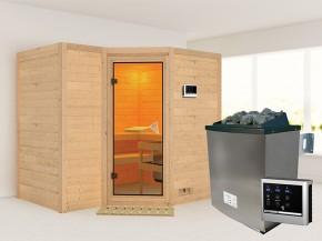 Karibu 40mm Comfort Massivholzsauna Sahib 2 - Eckeinstieg - Ganzglastür bronziert - ohne Dachkranz - 9kW Saunaofen mit externer Steuerung Easy