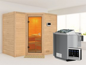Karibu 40mm Comfort Massivholzsauna Sahib 2 - Eckeinstieg - Ganzglastür bronziert - ohne Dachkranz - 9kW Bio-Kombiofen mit externer Steuerung Easy bio