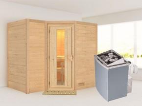 Karibu 40mm Comfort Massivholzsauna Sahib 2 - Eckeinstieg - Energiespartür - ohne Dachkranz - 9kW Saunaofen mit integr. Steuerung