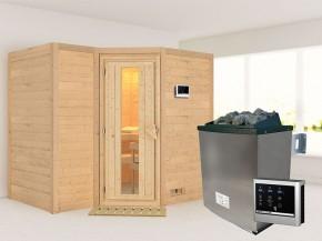 Karibu 40mm Comfort Massivholzsauna Sahib 2 - Eckeinstieg - Energiespartür - ohne Dachkranz - 9kW Saunaofen mit externer Steuerung Easy