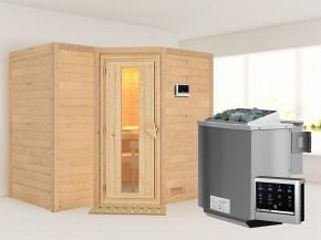 Karibu 40mm Comfort Massivholzsauna Sahib 2 - Eckeinstieg - Energiespartür - ohne Dachkranz - 9kW Bio-Kombiofen mit externer Steuerung Easy bio