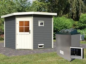 Woodfeeling 38 mm Saunahaus Hilda - terragrau - Eckhaus - 9kW Saunaofen mit externer Steuerung Easy
