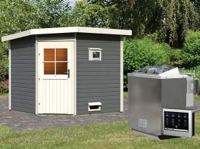 Woodfeeling 38 mm Saunahaus Hilda - terragrau - Eckhaus - 9kW Bio-Kombiofen mit externer Steuerung Easy bio