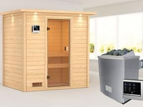 Woodfeeling 38 mm Massivholzsauna Selena - für niedrige Räume - mit Dachkranz - 4,5kW Saunaofen mit externer Steuerung Easy