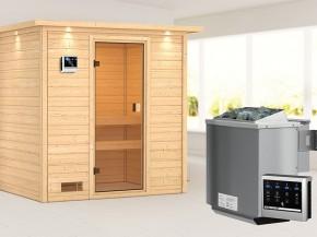 Woodfeeling 38 mm Massivholzsauna Selena - für niedrige Räume - mit Dachkranz - 4,5kW Bio-Kombiofen mit externer Steuerung Easy bio