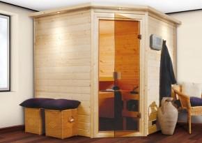 Woodfeeling 38 mm Massiv Sauna Nina Classic (Eckeinstieg)