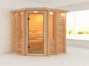 Karibu 40mm Premium Massivholzsauna Cortona - Eckeinstieg – Ganzglastür bronziert - mit Dachkranz
