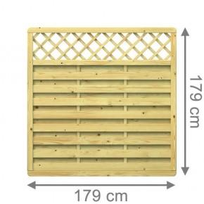 TraumGarten Sichtschutzzaun Nadelholz XL Rechteck mit Gitter kdi - 179 x 179 cm