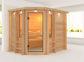 Karibu 40mm Premium Massivholzsauna Riona - Eckeinstieg – Ganzglastür bronziert - mit Dachkranz