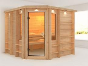 Karibu 40mm Premium Massivholzsauna Marona - Eckeinstieg – Ganzglastür bronziert - mit Dachkranz