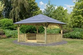 Set: Karibu Holzpavillon Holm 1 4-Eck-Pavillon Premium - inkl. Brüstung und Boden