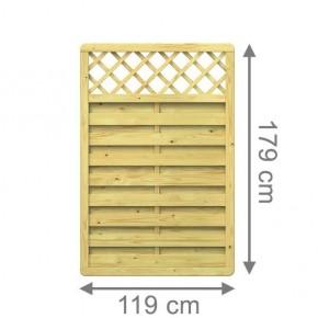 TraumGarten Sichtschutzzaun Nadelholz XL Rechteck mit Gitter kdi - 119 x 179 cm