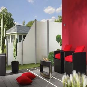 TraumGarten Sichtschutzzaun System Glas Matt Anschluß rechts - 90 x 180/90 x 0,8 cm