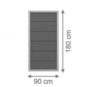 TraumGarten Sichtschutzzaun Design WPC Aluminium Rechteck anthrazit 90 x 180cm