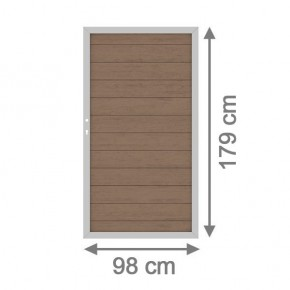 TraumGarten Gartentor System WPC DIN links mandel / silber - 98 x 179 cm