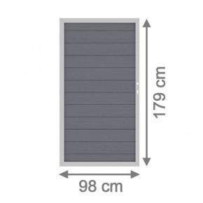 TraumGarten Sichtschutzzaun System WPC Tor DIN rechts anthrazit / silber - 98 x 179 cm