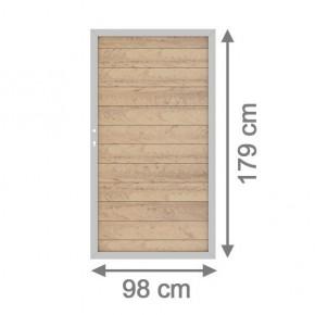 TraumGarten Gartentor System WPC DIN links sand / silber - 98 x 179 cm