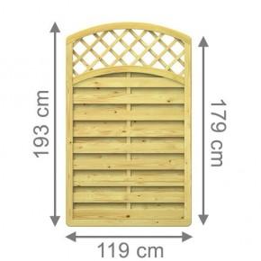 TraumGarten Sichtschutzzaun XL Rundbogen mit Gitter kdi - 119 x 179 (193) cm