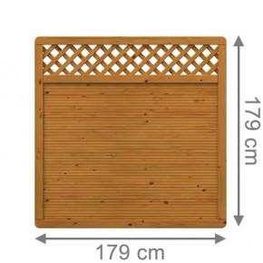 TraumGarten Sichtschutzzaun Arzago Rechteck mit Gitter braun lasiert - 179 x 179 cm