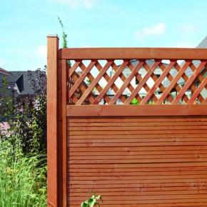 TraumGarten Sichtschutzzaun Nadelholz Arzago Rechteck mit Gitter braun lasiert - 90 x 179 cm