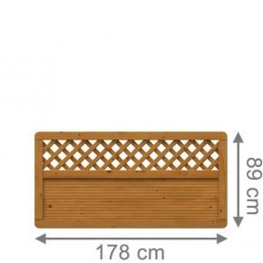 TraumGarten Sichtschutzzaun Arzago Rechteck mit Gitter braun lasiert - 179 x 89 cm