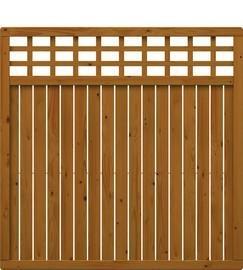 TraumGarten Sichtschutzzaun Nadelholz Como Rechteck mit Gitter braun lasiert - 178 x 178 cm