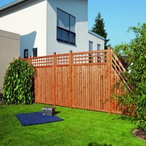 TraumGarten Sichtschutzzaun Nadelholz Como Anschluss mit Gitter braun lasiert - 89 x 178 auf 89 cm