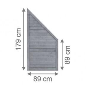 TraumGarten Sichtschutzzaun Neo Anschluss grau lasiert - 89 x 179 auf 89 cm