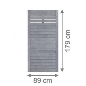 TraumGarten Sichtschutzzaun Nadelholz Neo Rechteck mit Gitter grau lasiert - 89 x 179 cm