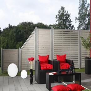 TraumGarten Sichtschutzzaun Neo Rechteck mit Gitter grau lasiert - 179 x 179 cm