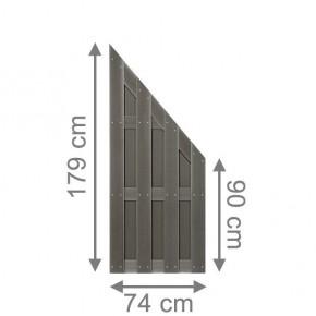 TraumGarten Sichtschutzzaun Jumbo WPC Anschluss anthrazit - 74 x 179 auf 90 cm