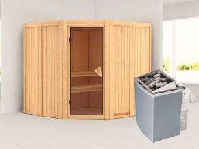 Karibu 68mm Systembausauna Jarin - Eckeinstieg - Ganzglastür bronziert - ohne Dachkranz - 9kW Saunaofen mit integr. Steuerung