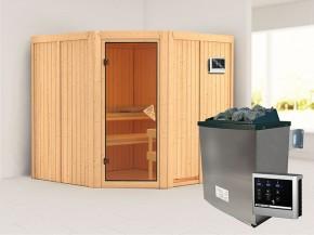 Karibu 68mm Systembausauna Jarin - Eckeinstieg - Ganzglastür bronziert - ohne Dachkranz - 9kW Saunaofen mit externer Steuerung Easy