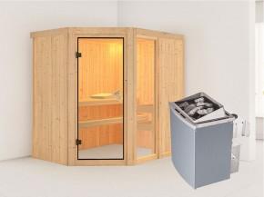 Karibu 68mm Systembausauna Fiona 1 - Eckeinstieg - Ganzglastür bronziert - ohne Dachkranz - 9kW Saunaofen mit integr. Steuerung