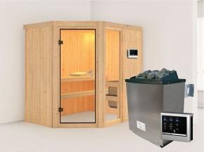 Karibu 68mm Systembausauna Fiona 1 - Eckeinstieg - Ganzglastür bronziert - ohne Dachkranz - 9kW Saunaofen mit externer Steuerung Easy