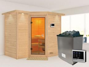 Karibu 40mm Comfort Massivholzsauna Sahib 2 - Eckeinstieg - Ganzglastür bronziert - mit Dachkranz - 9kW Saunaofen mit externer Steuerung Easy