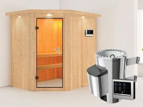 Karibu 68mm Systemsauna Saja - Plug&Play - Eckeinstieg - Ganzglastür bronziert - mit Dachkranz - 3,6kW Plug&Play Saunaofen mit externer Steuerung Easy