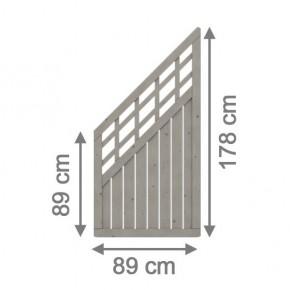 TraumGarten Sichtschutzzaun Nadelholz Como Anschluss mit Gitter grau lasiert - 89 x 178 auf 89 cm
