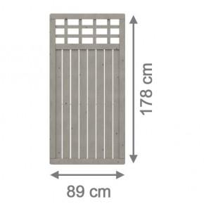 TraumGarten Sichtschutzzaun Nadelholz Como Rechteck mit Gitter grau lasiert - 89 x 178 cm