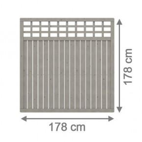 TraumGarten Sichtschutzzaun Como Rechteck mit Gitter grau lasiert - 178 x 178 cm