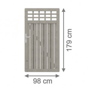 TraumGarten Gartentor Nadelholz Como mit Gitter grau lasiert - 98 x 179 cm
