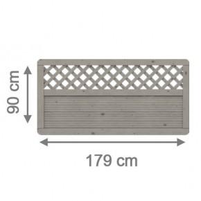 TraumGarten Sichtschutzzaun Arzago Rechteck mit Gitter grau lasiert - 179 x 90 cm