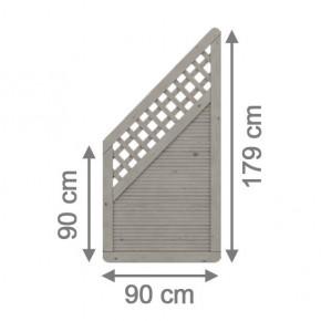 TraumGarten Sichtschutzzaun Arzago Anschluss mit Gitter grau lasiert - 90 x 179 auf 90 cm