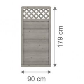 TraumGarten Sichtschutzzaun Nadelholz Arzago Rechteck mit Gitter grau lasiert - 90 x 179 cm