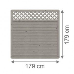TraumGarten Sichtschutzzaun Arzago Rechteck mit Gitter grau lasiert - 179 x 179 cm