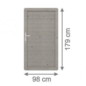 TraumGarten Sichtschutzzaun Arzago Tor grau lasiert - 98 x 179 cm