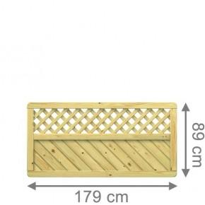 TraumGarten Sichtschutzzaun Vorgartenzaun Nadelholz Gada Rechteck mit Gitter kdi - 179 x 89 cm